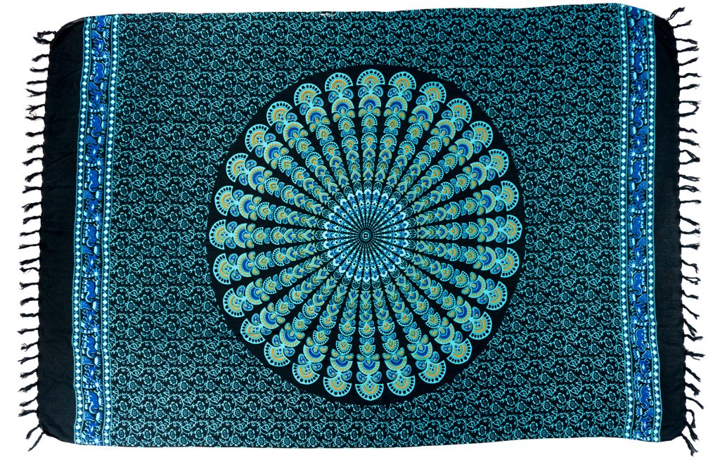 sarong mandala print blue black